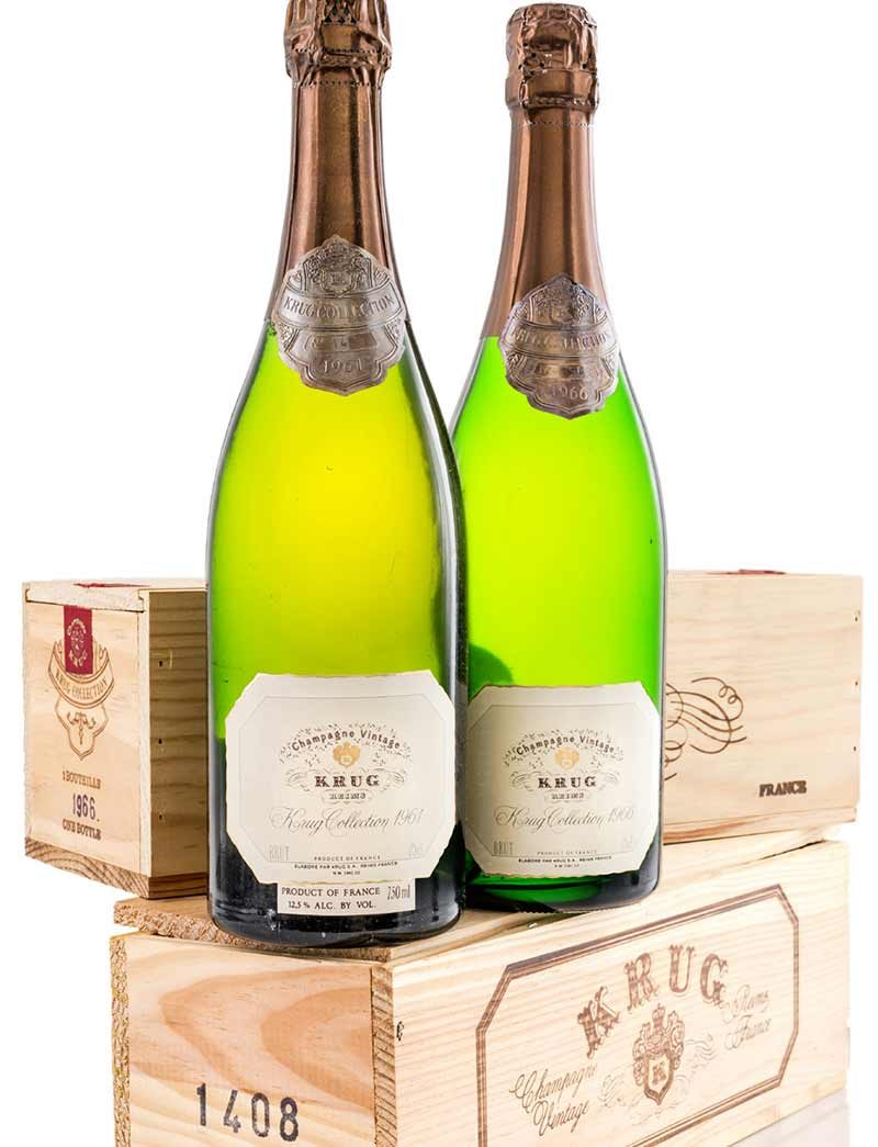 Lot 837, 848: 1 bottle each 1961 and 1966 Krug Collection Vintage Champagne in OWC